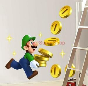 Image Is Loading LUIGI COLLECTS COINS Super Mario Bros Decal Removable