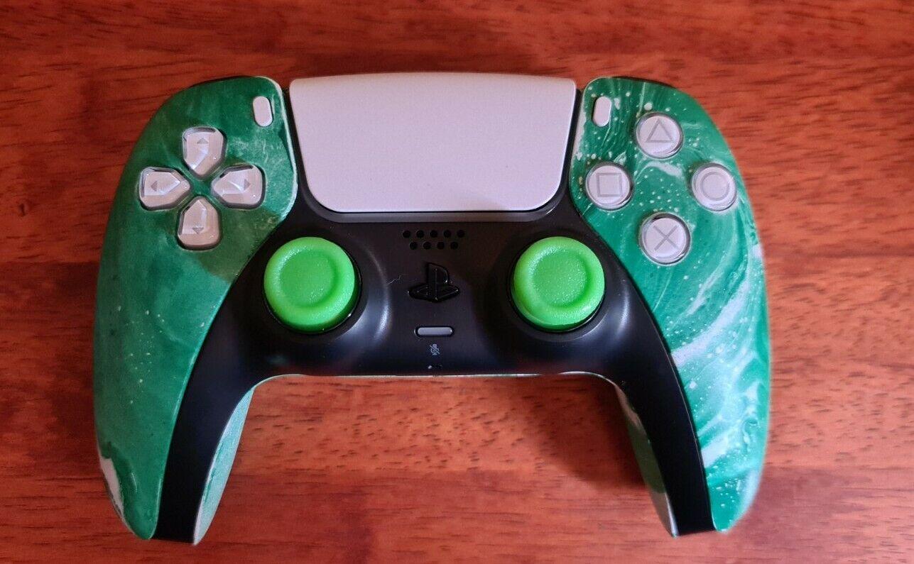 Custom Sony PS5 DualSense Controller Green - Hydrodipped