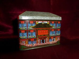 ORIENTAL-TEMPLE-CANDLE-HOUSE-SHAPED-NOVELTY-TIN-Food-Advertising