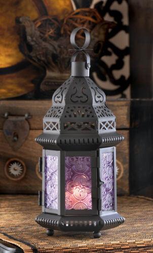 "small Moroccan 11/"" PURPLE black Candle holder LANTERN outdoor lamp wedding"