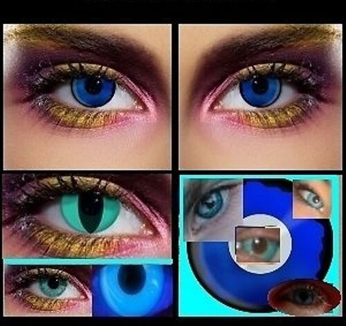2 lenses UV BLUE glow fashion contact halloween costume party fun scary lens