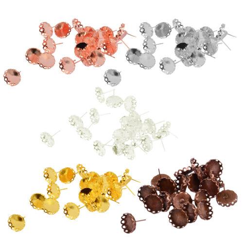 20Pcs Flower 12mm Bezel Earrings Stud Blanks Earring Bazel Jewelry Findings