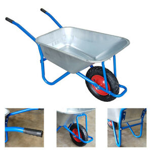 WheelBarrow-Builders-Garden-Metal-Truck-Wheel-Barrow-New-Pneumatic-Tyre-UKDC