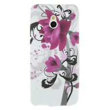 Schutzhülle f HTC One mini (M4) Case Silikon Cover Tasche Blumen lila violett