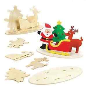 Details About Wooden Christmas Scene Decoration Kit Diy Santa Sleigh Tree Reindeer
