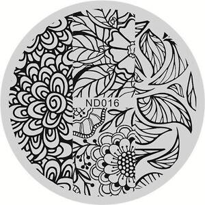 Nagel Kunst Schablone Stamping Rund Platte Stencil Maniku00fcre Floral Muster ND016 | EBay