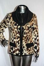 Womans ESCADA Brown Black Beige Zip Up Wool Cashmere Sweater Jacket Size 34