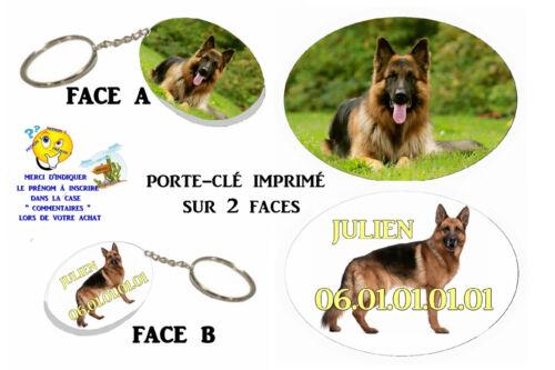 porte clé ovale polymère chien berger allemand personnalisé réf 09