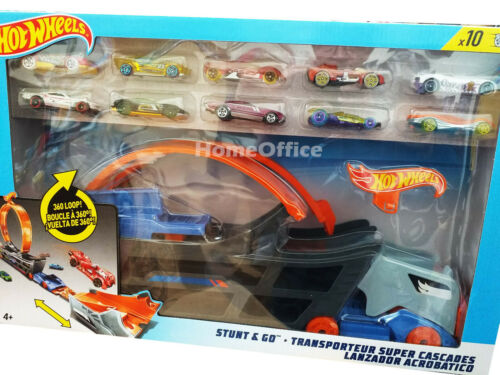 Hot Wheels Stunt /& Go Hauler Camión Transportador Truck 10 coches de fundición