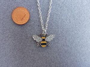 Encanto-del-esmalte-Bumble-Bee-S-Plateado-Colgante-Collar-Cadena-Regalo-de-Cumpleanos-18-034-236