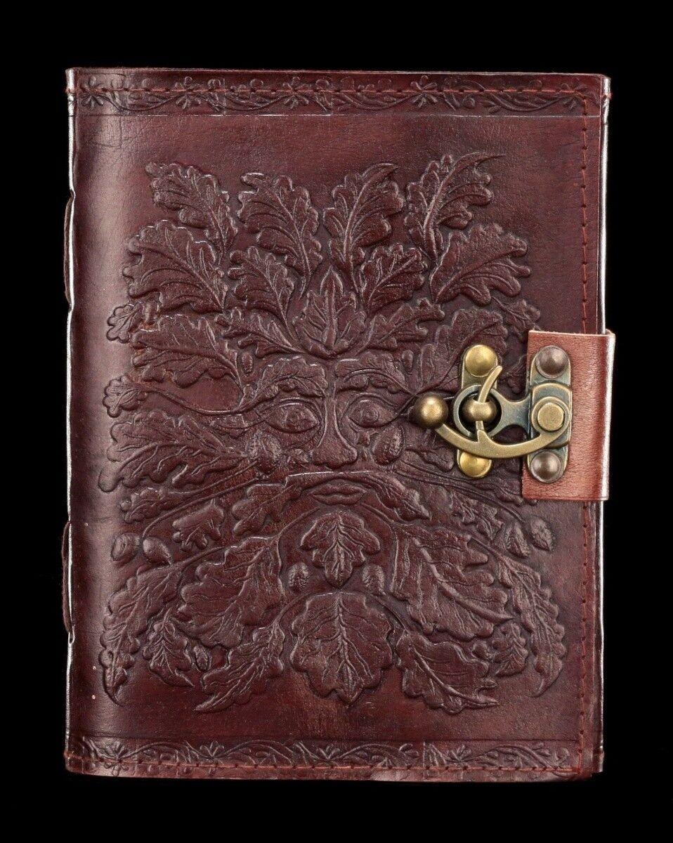 Leder Notizbuch mit Schloss - Grünman - Fantasy Tagebuch Ideenbuch Geschenk | Guter weltweiter Ruf