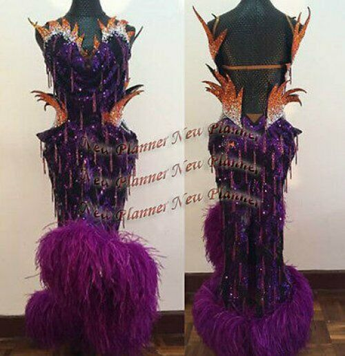 L888 Ostrich Feather Btuttiroom Rhythm salsa Latin Samba swing dance vestido US