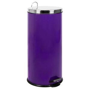 30 litre pedal bin purple kitchen waste rubbish large step. Black Bedroom Furniture Sets. Home Design Ideas