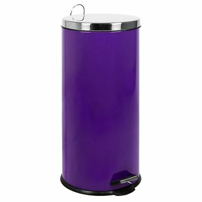 30 Litre Pedal Bin Purple Kitchen Waste Rubbish Large Step Metal By Home Disc...