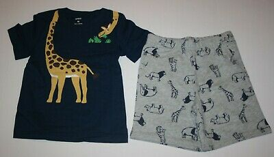 Carters 2-Piece Giraffe Tee /& Animal Short Set