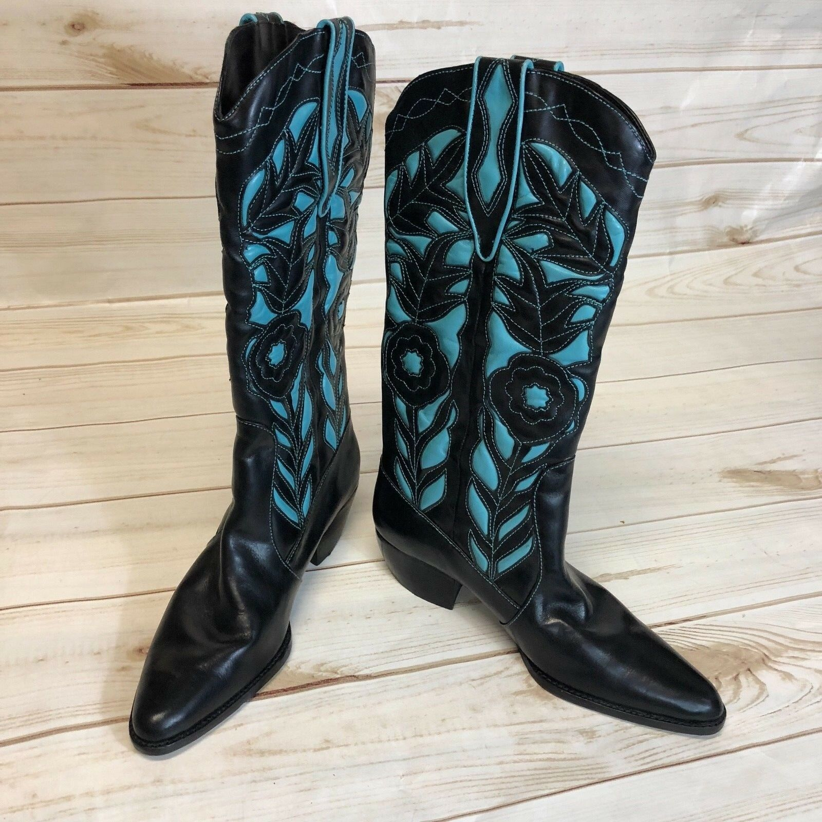 Vaneli Woman's Size 5 Black/turquoise Leather Cowboy Boots EUC **Free Shipping**