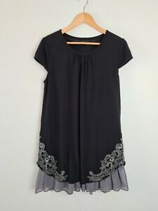 Quelque Black Layered T-Shirt Dress Women's Size 12 Embroidered Analgise Trim