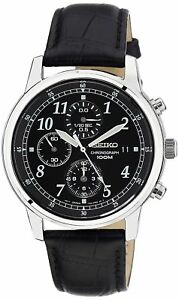 Seiko-Men-039-s-SNDC33-Classic-Black-Leather-Black-Chronograph-Dial-Watch