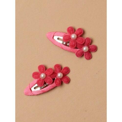 Girls Hair Pack of 2 Double Felt Flower Ribbon Wrapped Sleepies Pearl Bead Cute