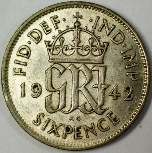 1942 United Kingdom 6 Pence Silver Extra Fine World War Two Coin