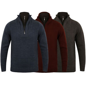 Mens-Wool-Mix-Knitted-Jumper-Dissident-Double-Layer-Funnel-Neck-Pullover-Sweater
