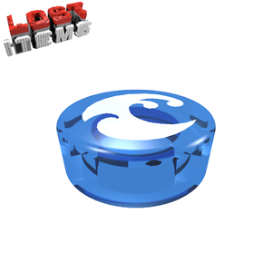 2 x [NEW] Lego Round Tile 1 x 1 with Water Power Symbol-Trans Dark Blue -98138