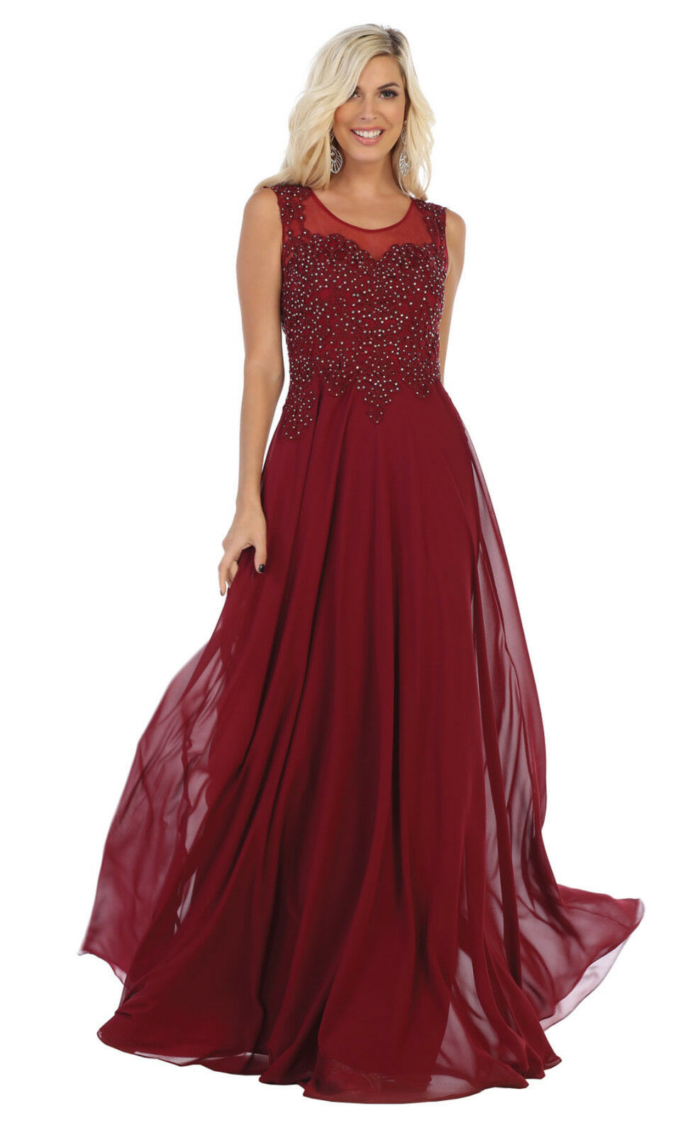 SPECIAL OCCASION FLOWY PROM DESIGNER FORMAL EVENING GOWN SLEEVELESS PARTY DRESS