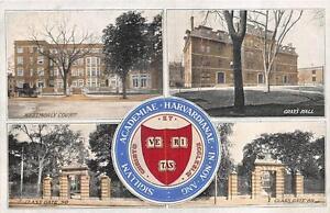 BOSTON MASSACHUSETTS HARVARD UNIVERSITY MULTI-VIEW POSTCARD 1907 *