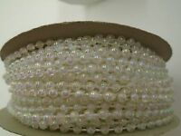 3mm 24 Yard Roll Faux Pearl Beads On A String Craft (clear Iridescent)