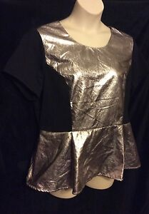 TOP-FOREVER-21-Formal-Women-Plus-Size-2x-Black-Gold-Spandex-Rayon-S-s-PEPLUM