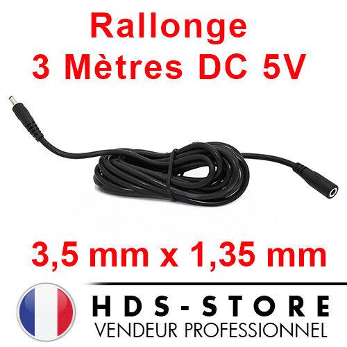 RALLONGE D'ALIMENTATION DE 3 MÈTRES POUR CAMERA IP DC 5V 3,5 mm X 1,35 mm NOIR