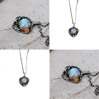 Flower Shaped Rainbow Fire Moonstone Gemstone Vintage Silver Necklace Pendants