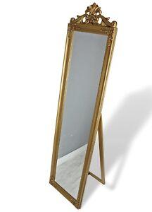 standspiegel gro 180 x 45 cm gold barock spiegel antik landhaus holz patina ebay. Black Bedroom Furniture Sets. Home Design Ideas
