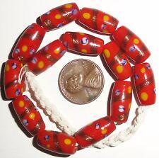 Beautiful Strand Indonesian Red w/Aventurine Oval Tube Glass Trade Beads 8x16mm