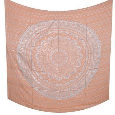 Red Gold Ombre Mandala Indian Bedspread Wall Hanging Queen Cotton Tapestries