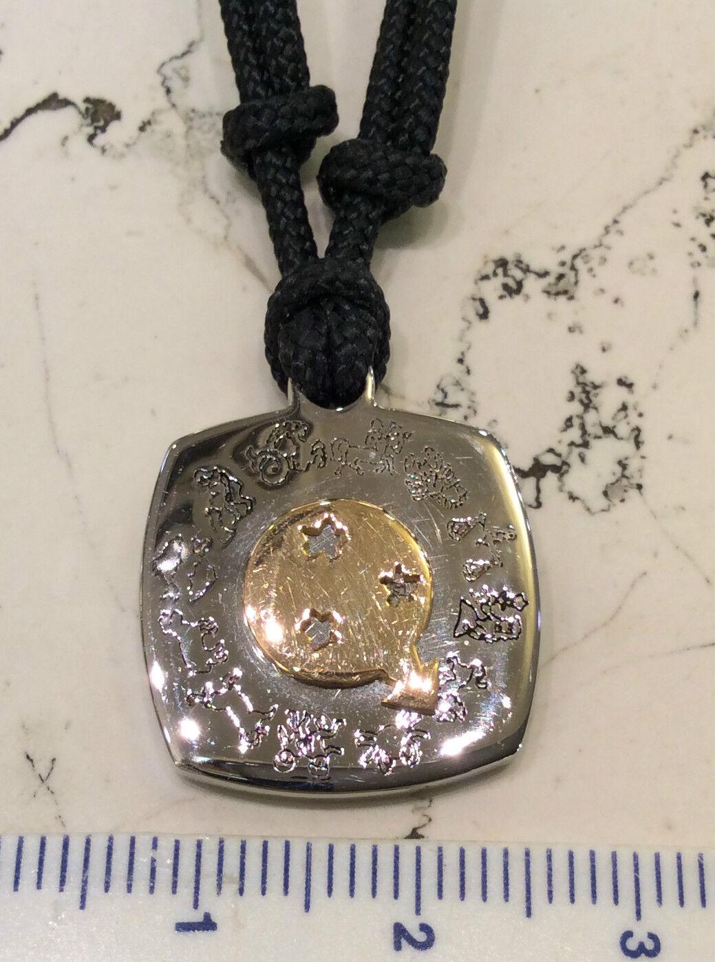 Girocollo Girocollo Girocollo Scarabeo linea Zodiaco acciaio oro 18 kt nuovo con cordoncino 38991d