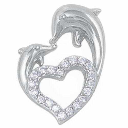 CZ DOLPHINS HEART .925 Sterling Silver Pendant