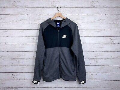 NIKE Sportswear Men's AV15 Full Zip Hoodie Sweatshirt Pockets Gray Black Size M | eBay