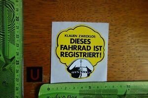 Alter-Aufkleber-Fahrrad-Radsport-Sicherung-Schloss-KLAUEN-ZWECKLOS