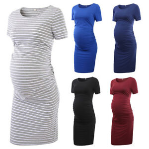 64bedc49a7f68 Details about Pregnant Clothes Women Maternity Short Sleeve Casual Dress  Ruched Fitted Bodycon
