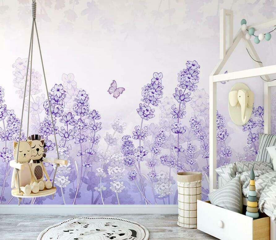 3D lila Flowers I2776 Wallpaper Mural Sefl-adhesive Removable Sticker Wendy