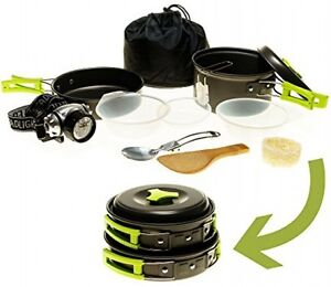 Camping Cookware Mess Kit W/LED Headlamp Backpacking Hiking Bag Survival Set New