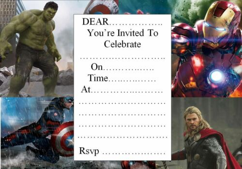 LARGE AVENGERS  BOYS PARTY INVITATIONS 10,20 OR 30 WITH ENVELOPES