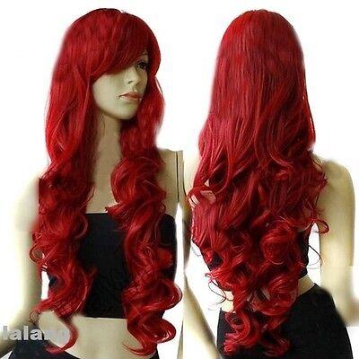 HOT Damen Rot Perücken Haarteile Kostüm Perücke Locken Gelockt Cosplay 80cm