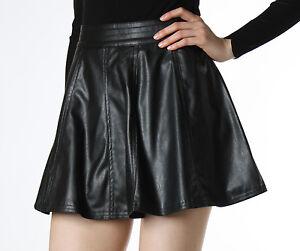 basic simple high waist pu leather skirt flowy