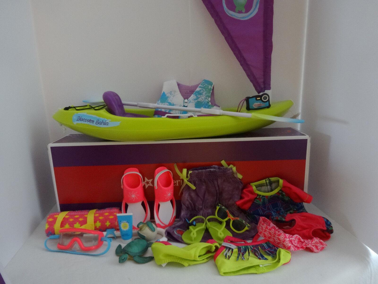 American Girl retirado Lea Kayak Accesorios De Playa Vestido & - swimset-Nuevo En Caja