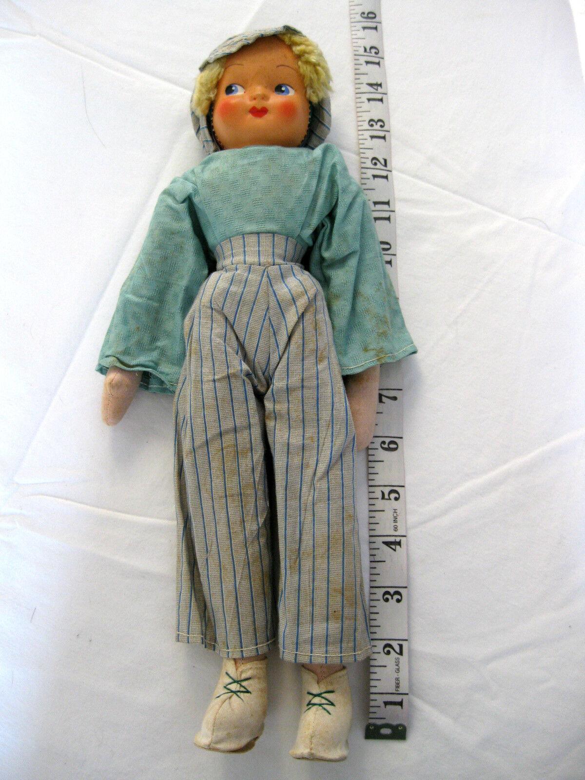 Antiguo serrín Relleno Articulada de paño de cuerpo de plástico cara 15  Working Girl Doll