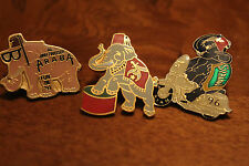 Vintage Shriner Lot of 3 Elephant enamel pins - pink Araba, SYRIAN 96, and red