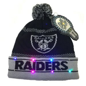 03b334c5f39 OAKLAND RAIDERS LED LIGHT UP KNIT POM POM KNIT HAT BEANIE FREE ...