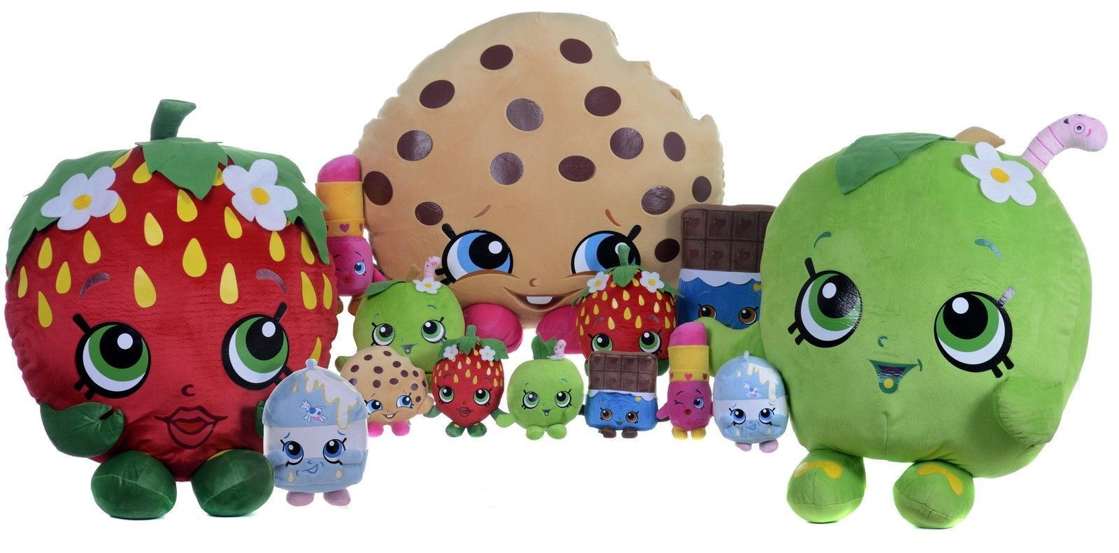 Official Shopkins Soft Toy Large Plush Toy Kiss Strawberry Kooky Cookie 10 inch